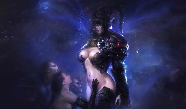 воин, фэнтези, девушка, девушки, рисунок, графика, меч,