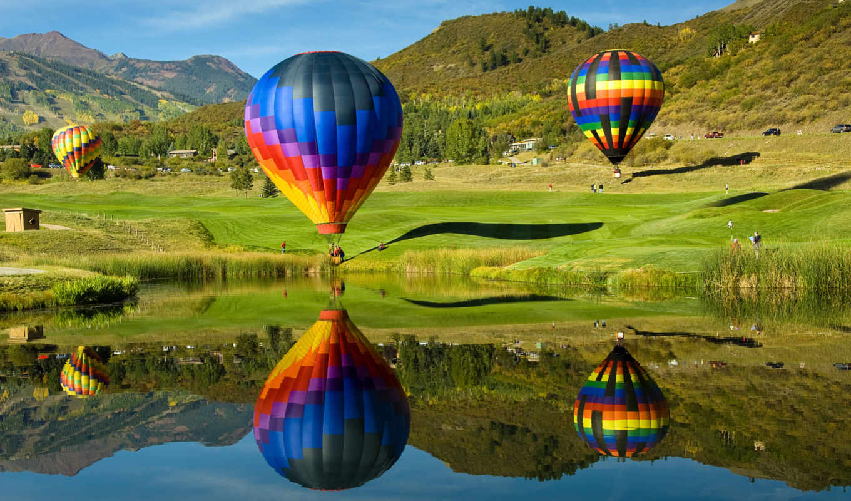 воздушные, шары, мяч, aerial, горы, фоны,