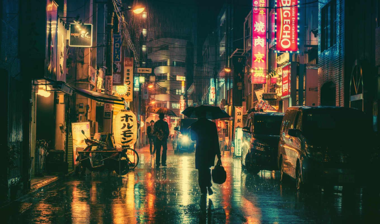 tokio, город, дождь, города, ночь, зонтик, янв, фотографий, картинка, that,