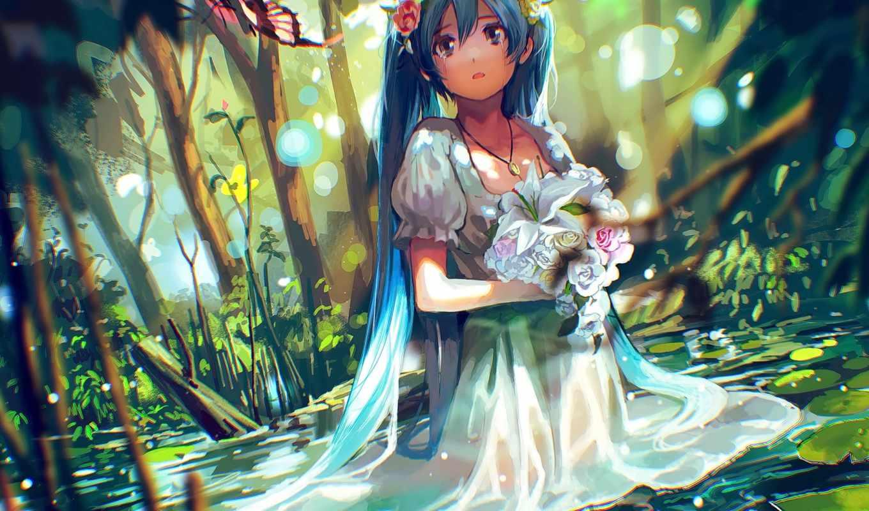 girls, anime, vocaloid, hatsune, miku, свет, волосы, blue,