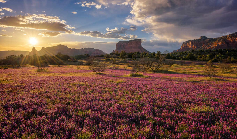 sedona, arizona, гора, usa, rock, природа, sun, state, red, park, закат