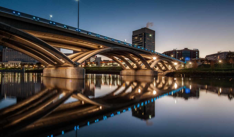 columbus, ohio, davidson, harley, улица, мост