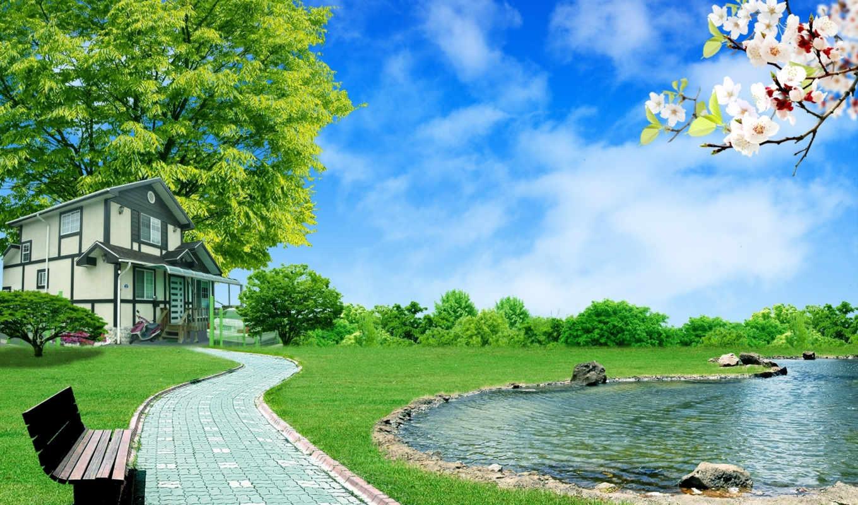 desktop, house, free, full, digital, background, home, download, image, landscape, images, nature, garden, stock, lake, peace, unsorted, hintergrundbilder,