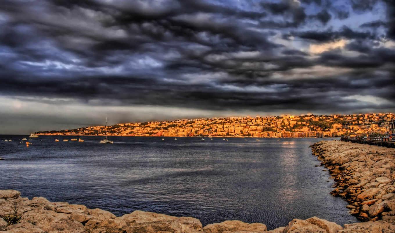природа, небо, desktop, красивые, тучи, пейзажи, море, камни, пирс, stunning,