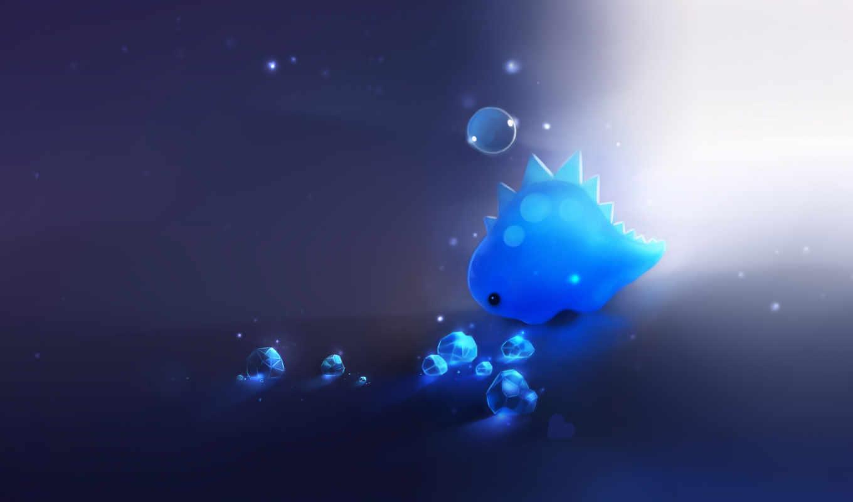 динозавр, арт, пузырь, синий, кристаллы, свет, сердечко, картинка, картинку,