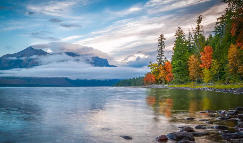 горы, осень, озеро, лес, небо, отражение, природа,