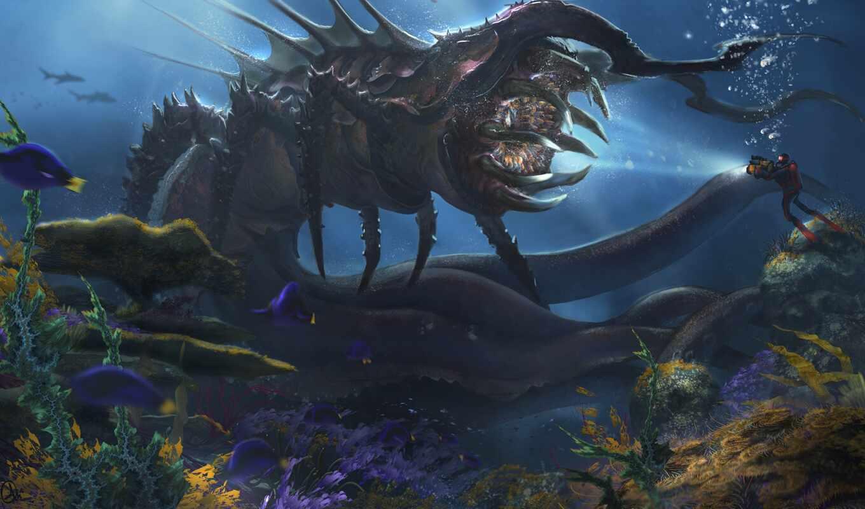 тварь, море, game, deep, underwater, subnautica