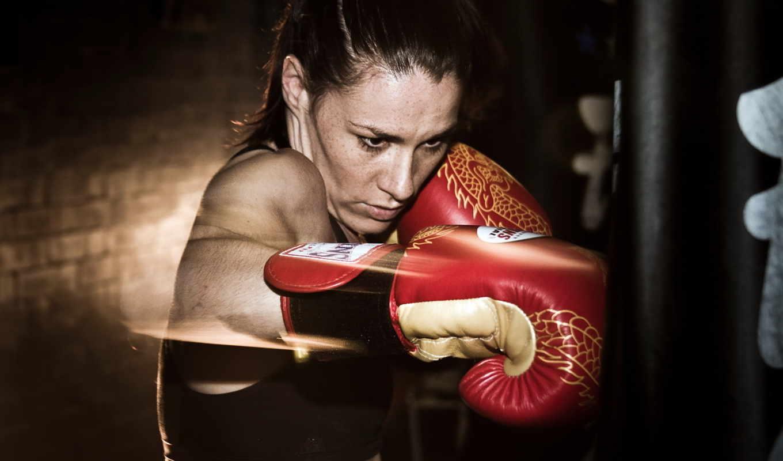 девушка, тренировка, бокс, смотрите,