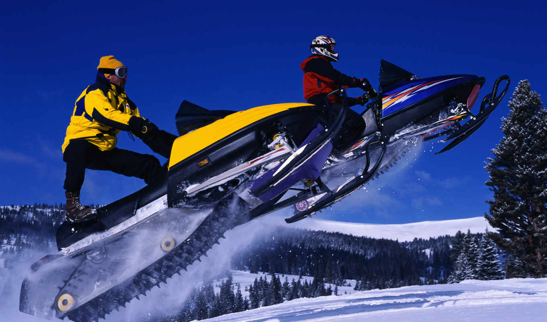 снегоходы, зима, спорт, snowmobiles, прыжок, небо, снег, полет,