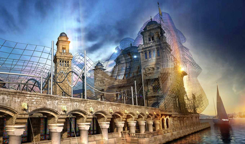 fantasy, art, scenery, benoit, patterlini, digital, замок, красота, desktop, сетка, city, wallbest, download,