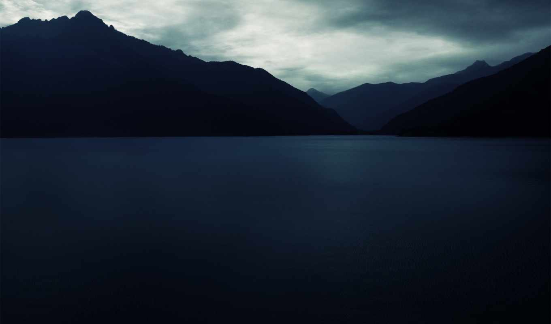 silence, blue, mountains, deep, sea, skies,