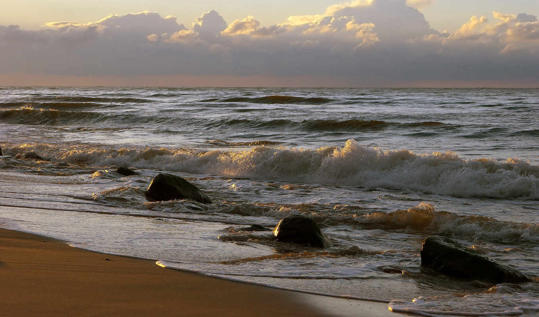 волны, небо, surf, скалы, горизонт, water, брызги, закат, море,
