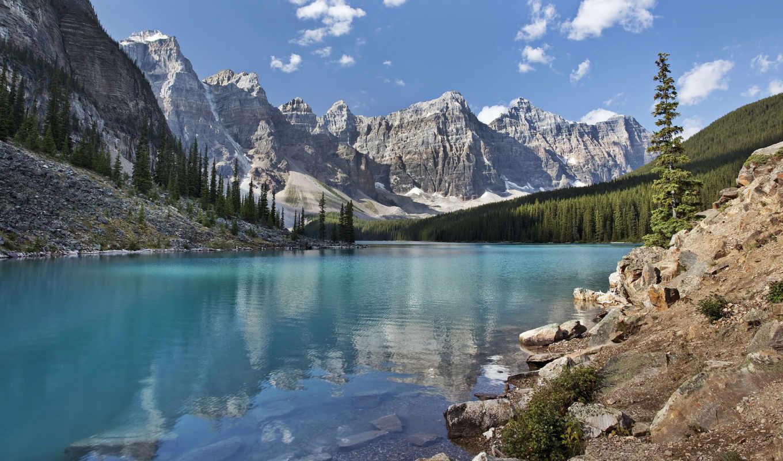 озеро, moraine, канада, banff, national, park, горы,