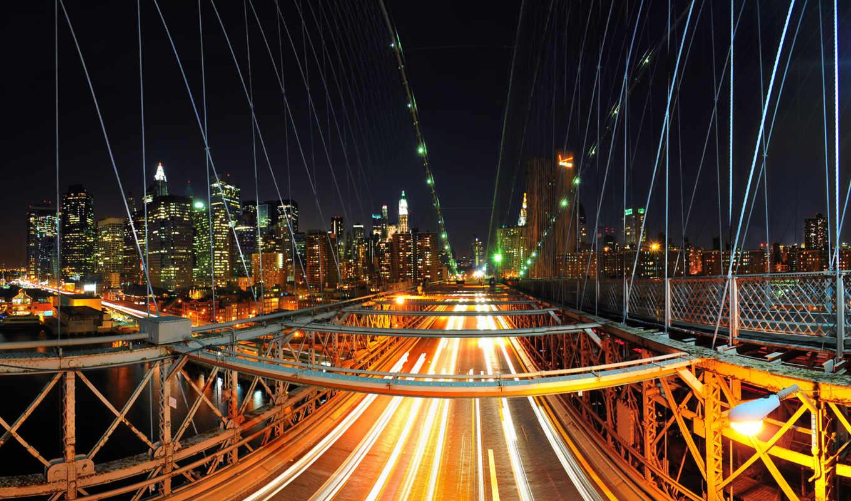 мост, город, огни, нью, бруклин, ночь, usa, york,
