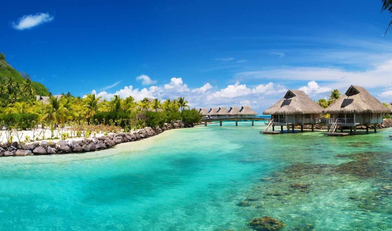 full, пальмы, пляж, ocean, tropics, море, широкоформатные, острова, bora,