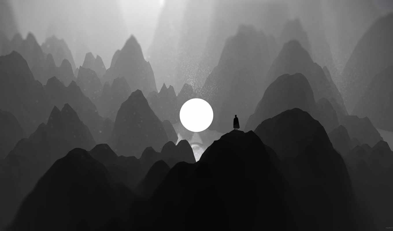 mountains, lone, darkness, креатив, трещина,