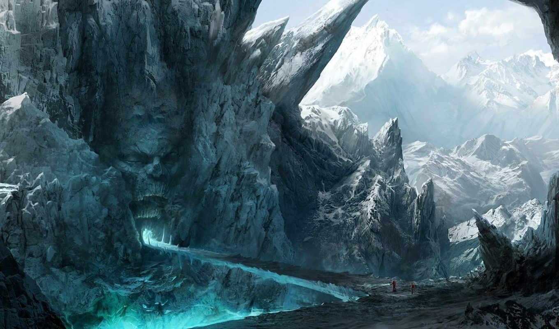 лицо, скалы, рот, путники, горы, каменное, мост, картинка, обитатели, fantasy,