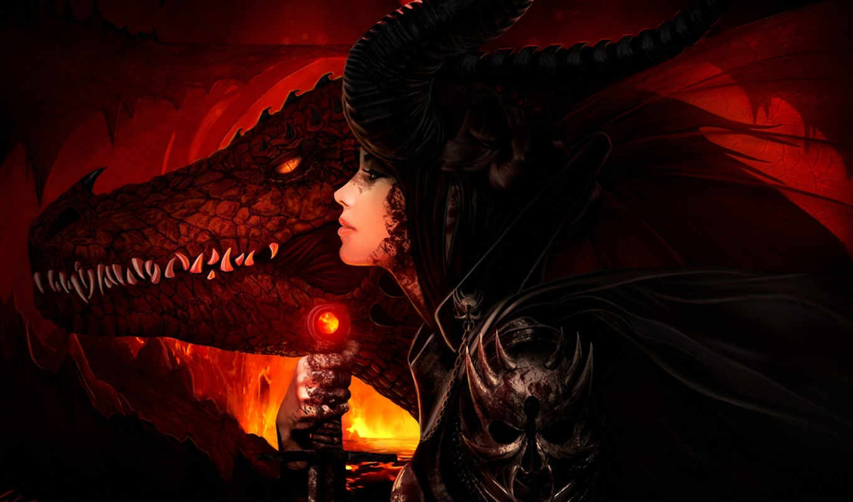 огонь, девушка, арт, меч, дракон, оружие, рога, лава,