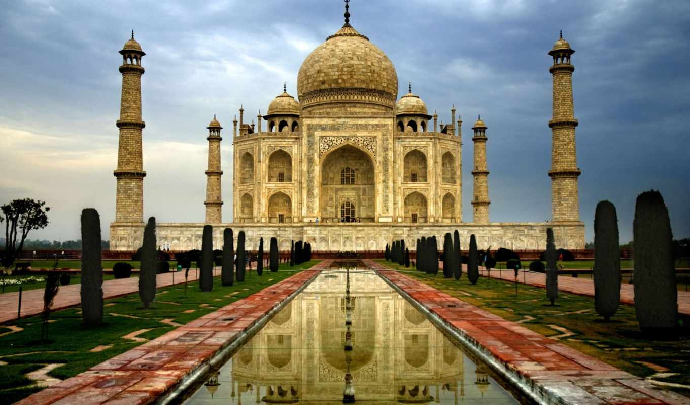 тадж, mahal, taj, india, architecture, город, серость, аллея,