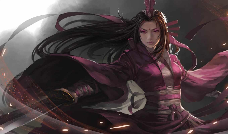 девушка, anime, воин, меч, blade, арта, fantasy, волосы, anim