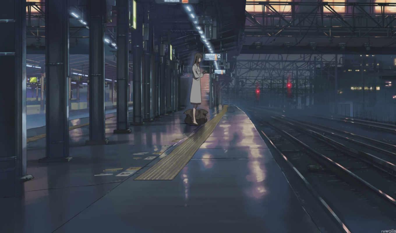 девушка, одинокая, станция, аниме, обои, девушки,