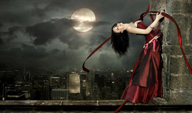 луна, платье, девушка, город, ночь, красное, готика, стена, высота, красное платье, fantasy,