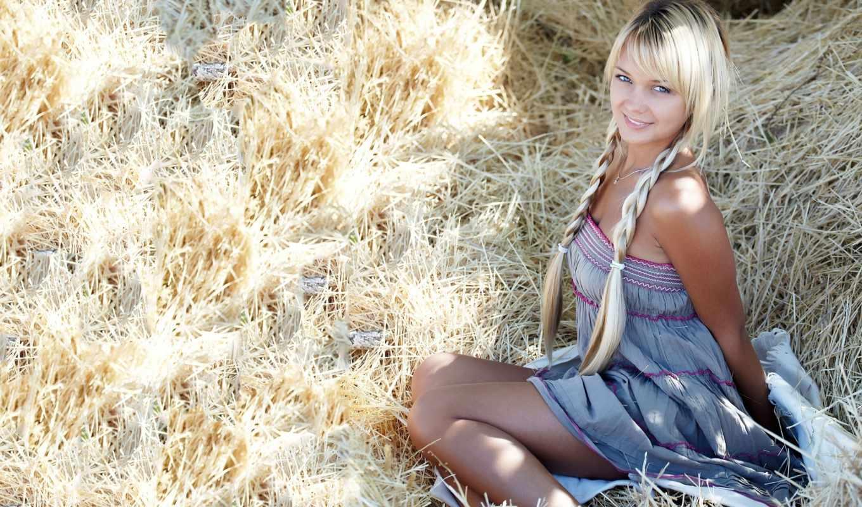 blonde, девушка, девушки, сено, девушек, ночь, платье, красивые,