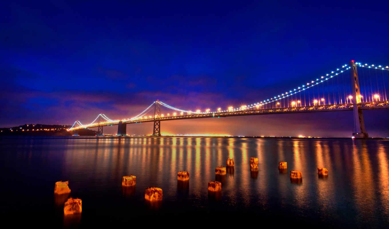 san, francisco, мост, огни, california, город, калифорния,