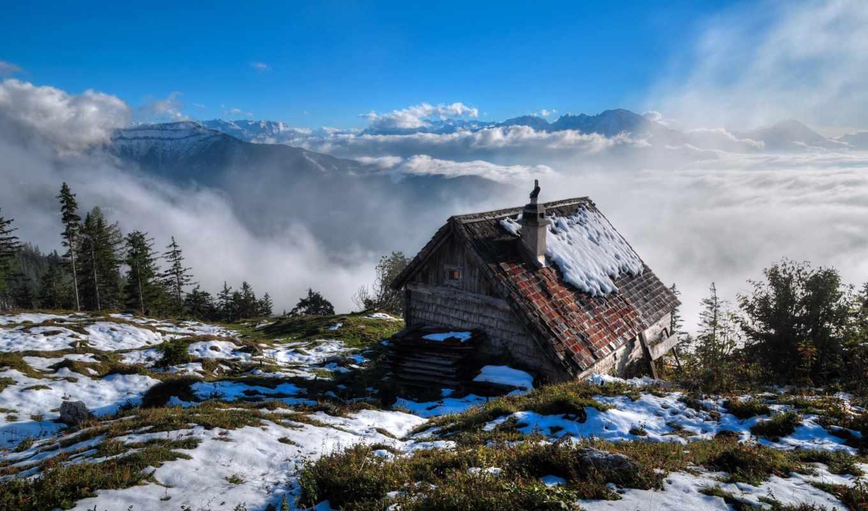 снег, winter, природа, дек, деревя, когда, lodge,
