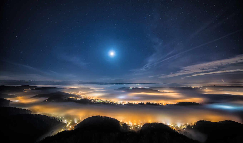 луна, ночь, город, небо, звезды, stars, огни,