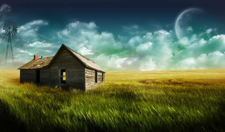 house, всех, lodge, тег, есть, которых, поле, деревне, фотообои, new,