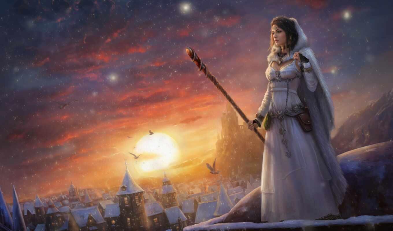 девушка, fentezti, winter, posohnut, маг, fantasy, снег, drawing, капюшон, rising, магия