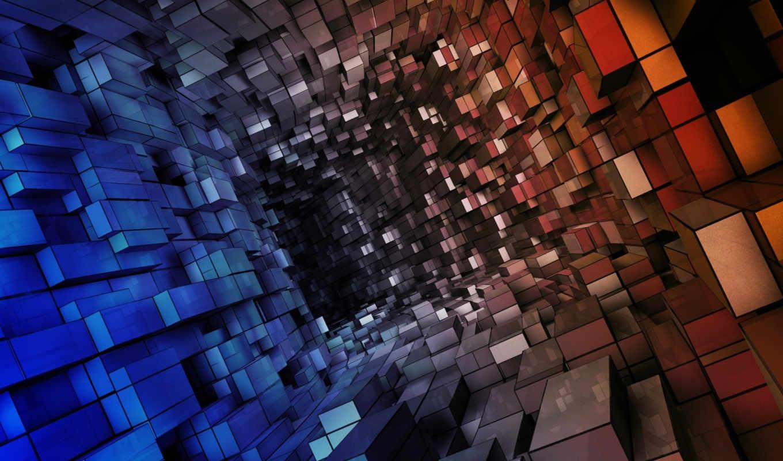 тоннель, кубов, абстракция, красный, blue, vista, коридор, состоящий, отражение, soyut, tünel,