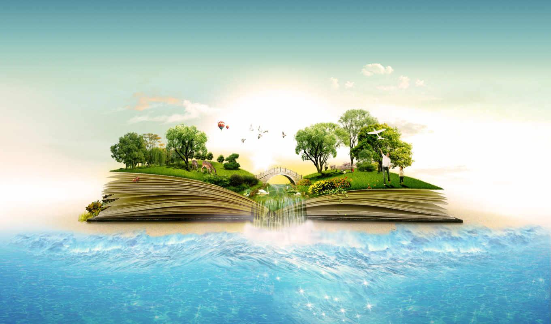 креативных, фона, набор, водопад, деревья, пейзаж, море, книга, gallery, portfolio, similar,