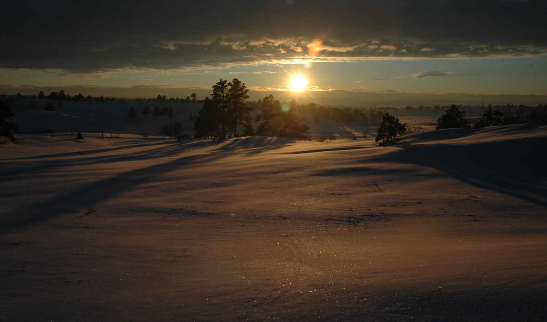 пейзажи, солнце, зима, снег, картинка, sunset, качестве, photos,
