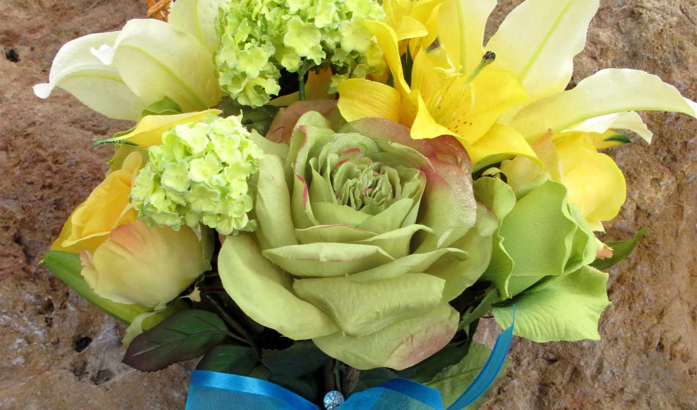 цветы, букеты, лилии, розы,