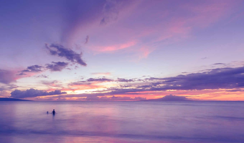 небо, more, priroda, voda, oblaka, kartinka, фиолетовый, человек,