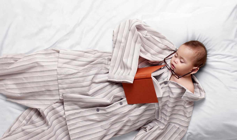 ребёнок, очки, пижама, постель, сон