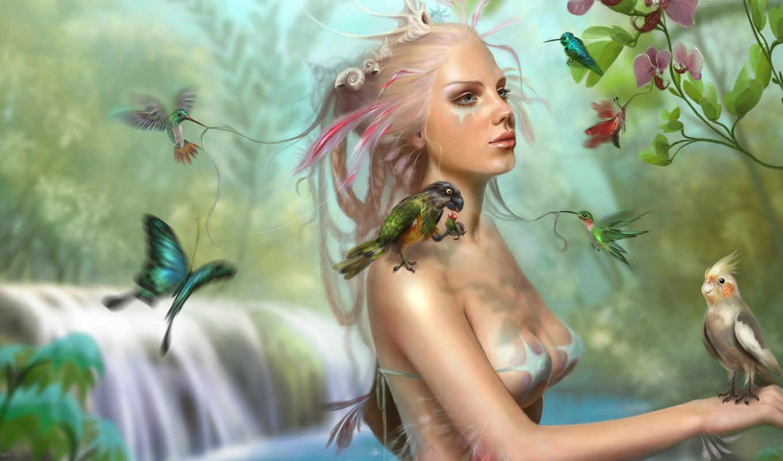 фэнтези, flowers, art, женщины, nature, women, fantasy, birds, цветы, птицы, accueil, bird, картинка, yunaflorie, lady,