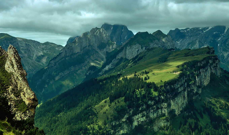 горы, природа, пейзаж, картинка, облака, landscapes, вид, небо, mountains, леса, высота, деревья, свет, скалы,