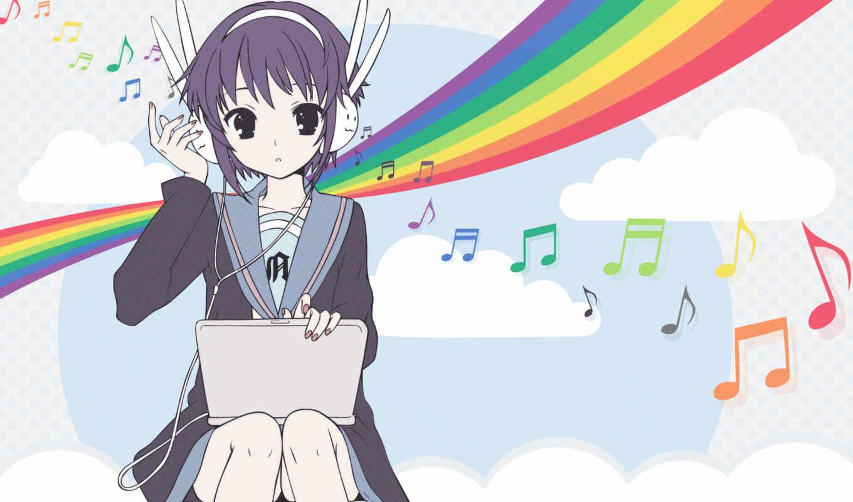 suzumiya, haruhi, nagato, yuki, anime, melancholy, laptops, school, uniforms, hair, purple, headphones, laptop,