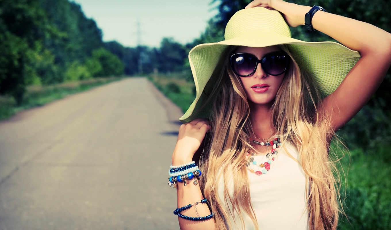 очки, девушка, дорога, природа, волосы, самых,