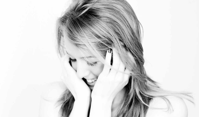 девушка, смех, счастье, blonde, чб, настроение,