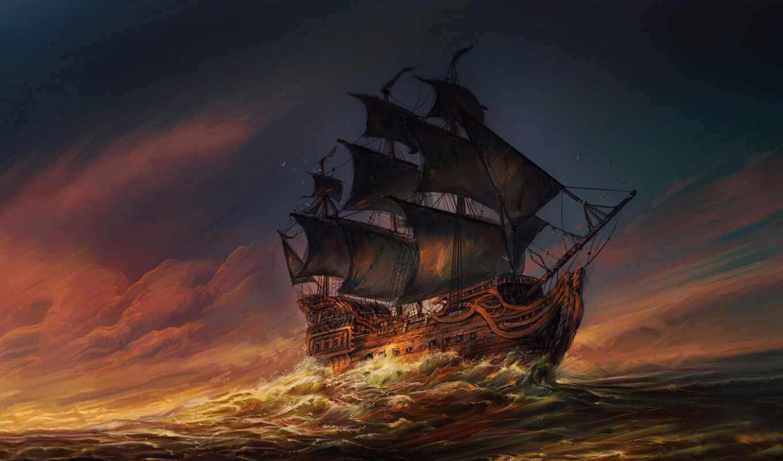 корабль, море, арта, пиратский, ocean, drawing