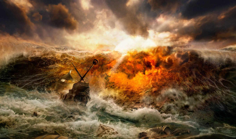 волны, буря, кораблекрушение, desktop, click, download, крушение, select, right, человек, корабль, море,