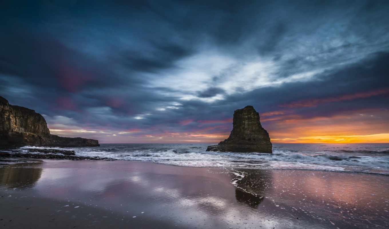 океан, закат, скалы, калифорния, небо, вечер, сша, берег, картинка,