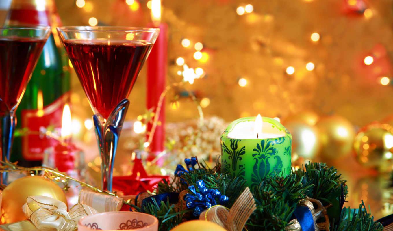 год, new, свечи, новогодние, праздник, шарики, дек,