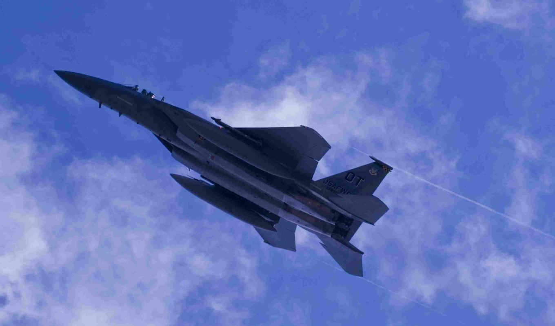 небо, самолёт, ракеты, картинка,