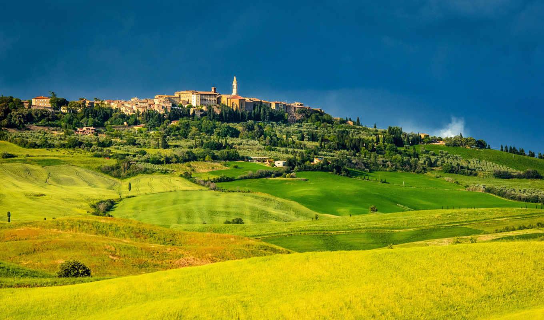pienza, tuscany, италия, пьенца, картинка, картинку, поля,