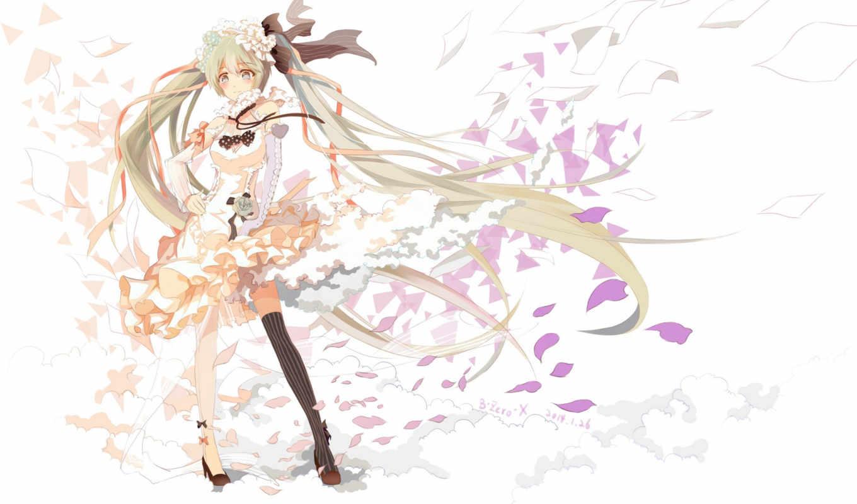 miku, hatsune, vocaloid, девушка, лепестки, art, цветы,